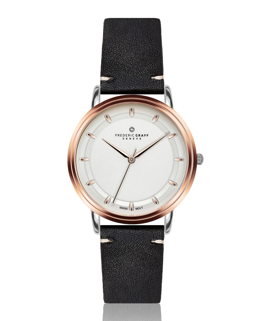 Matterhorn black leather & white watch Sale - frederic graff