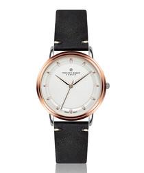 Matterhorn black leather & white watch