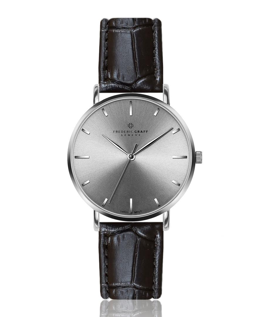 Eveque black leather moc-croc watch Sale - frederic graff
