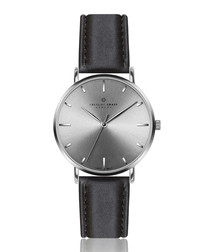 Eveque black leather watch