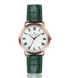 Weisshorn green leather moc-croc watch