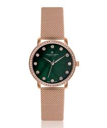 Mont Gele rose gold-tone mesh watch