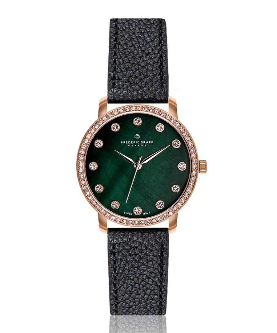 Mont Gele green & black leather watch Sale - frederic graff