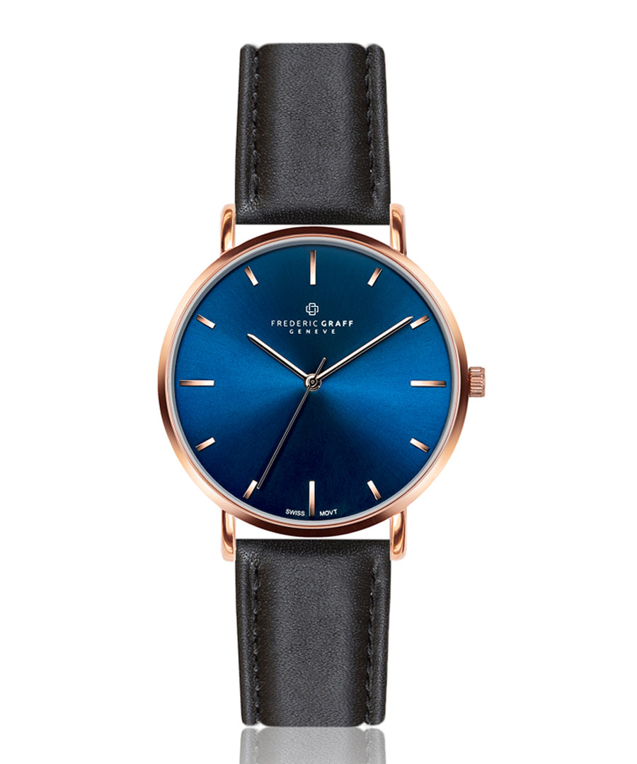 Mont Fort blue & black leather watch Sale - frederic graff