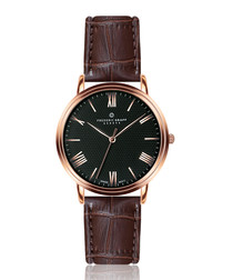 Monch rose gold-tone & moc-croc brown leather watch