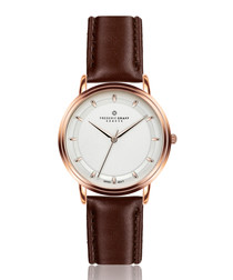Matterhorn rose gold-tone & dark brown leather watch