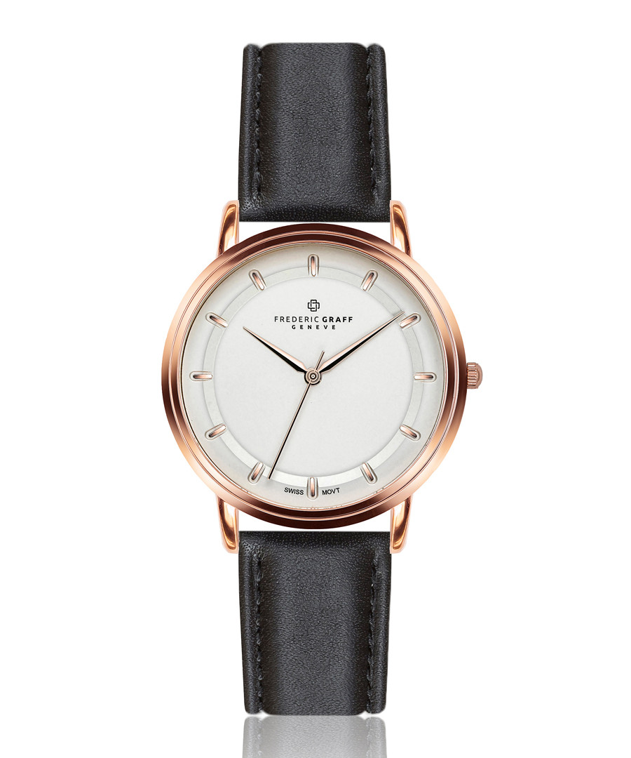 Matterhorn black leather watch Sale - frederic graff