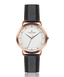 Matterhorn rose gold-tone & black leather watch