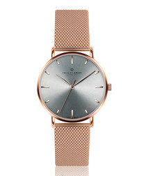 Eveque rose gold-tone steel mesh watch