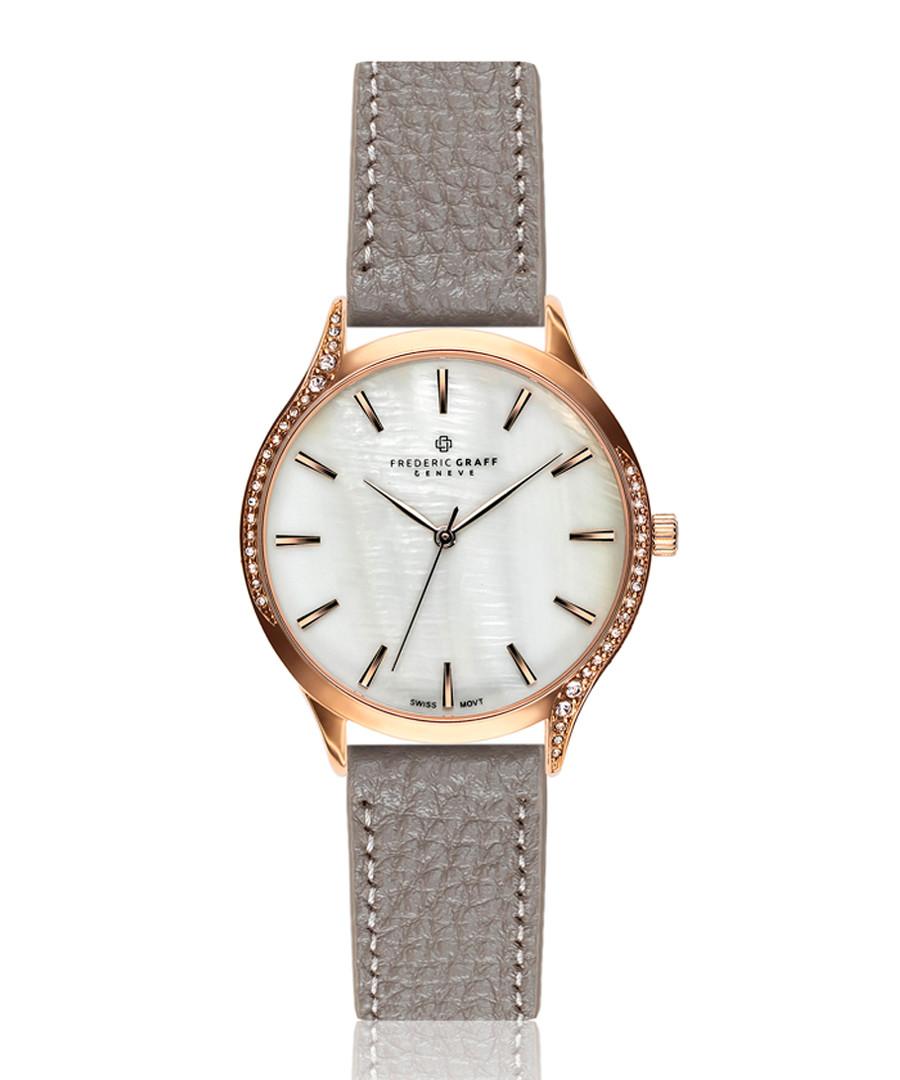 Clariden grey leather quartz watch Sale - frederic graff