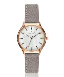 Clariden grey leather quartz watch