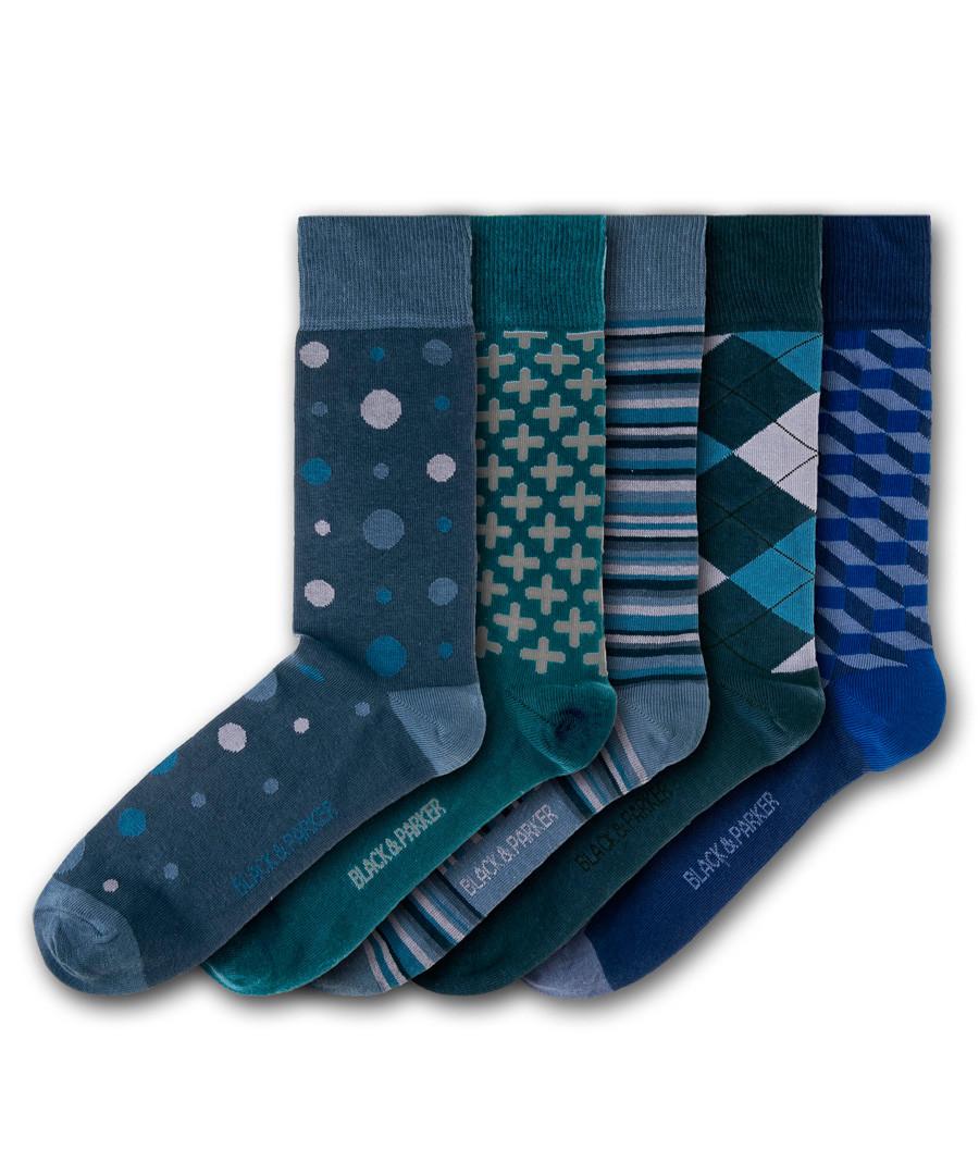 5pc Killerton cotton blend socks Sale - black & parker