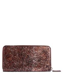 Brown paper & leather zip-around wallet