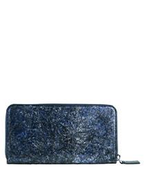 Blue paper & leather zip-around wallet