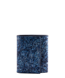 Blue paper & leather wallet