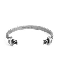 Rhodium-plated silver bolt bracelet