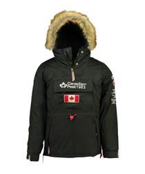 Banotiko black pocket flag parka jacket