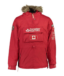 Banotiko red pocket flag parka jacket