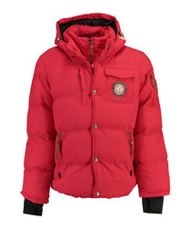 Viktor red padded button layer coat