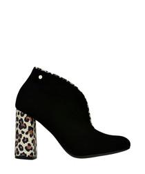 Black & leopard print leather boots