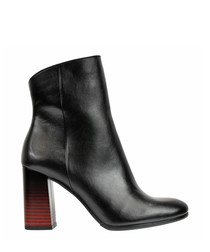 Black & red heeled leather boots