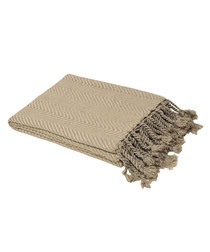 Patterned taupe fringe throw 140x180cm