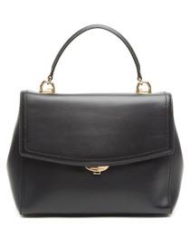 Black leather & gold-tone crossbody bag