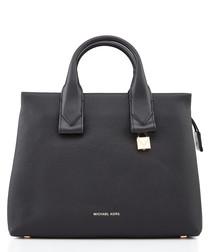 Rollins large black leather grab bag