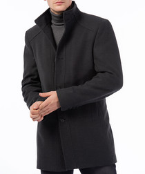 Anthracite stand collar overcoat