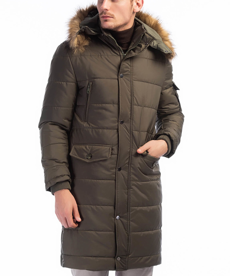 Khaki faux fur hood padded overcoat Sale - Dewberry