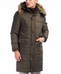 Khaki faux fur hood padded overcoat