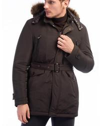 Brown faux fur hooded outdoors jacket