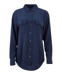 Navy pure silk pocket blouse