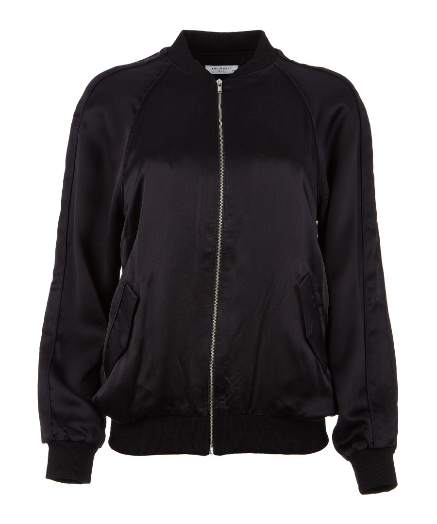 Black pure silk zip bomber Sale - equipment