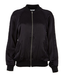 Black pure silk zip bomber