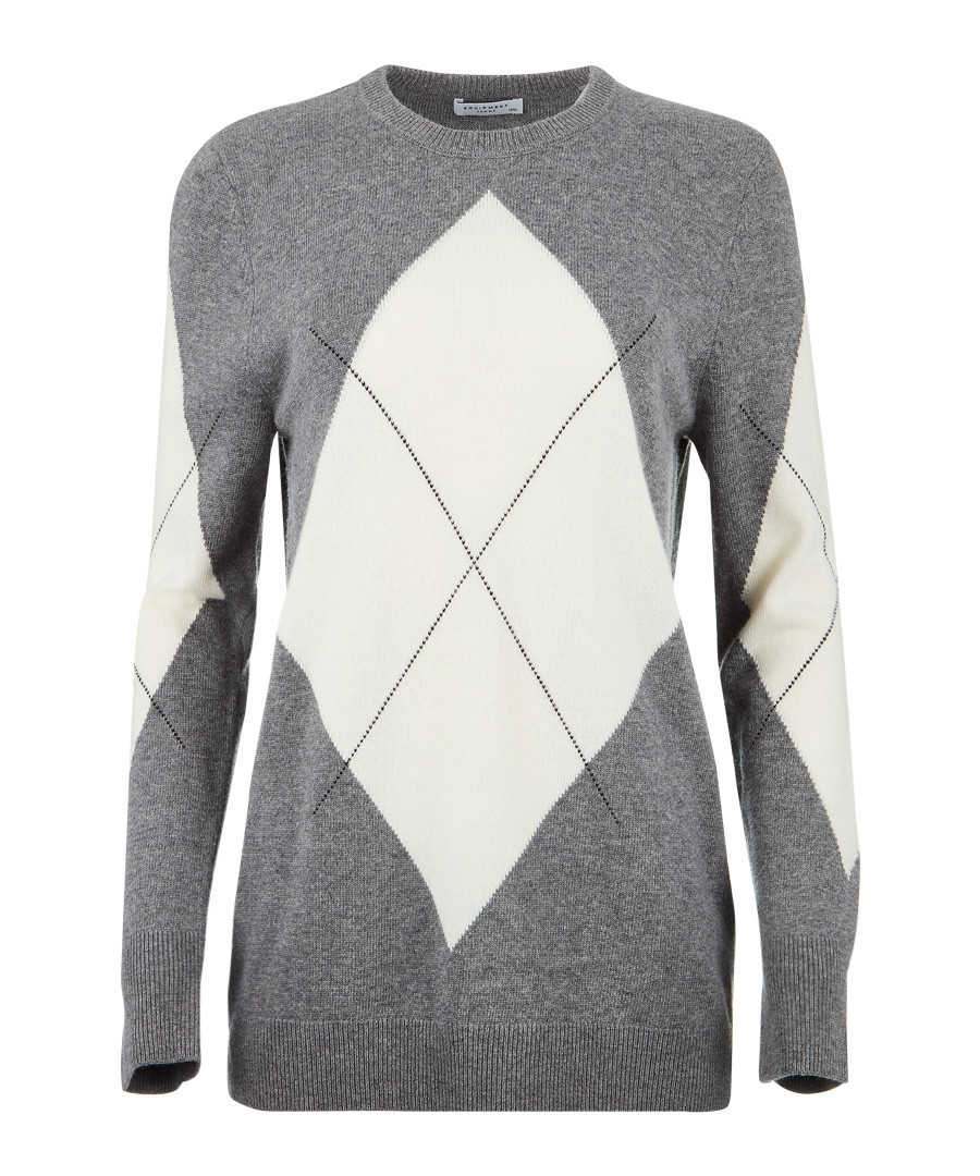 Grey wool blend argyle jumper Sale - Equipment