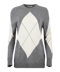 Grey wool blend argyle jumper