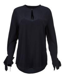 Midnight pure silk blouse