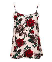 Cream pure silk rose halter-neck top