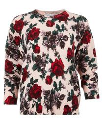 Cream pure cashmere rose jumper