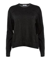Black melange wool blend top