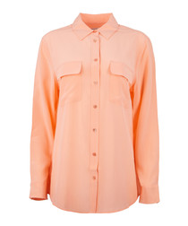 Peach pure silk pocket blouse