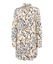 Animal print pure silk high neck top