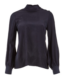 Georgie navy pure silk high neck blouse