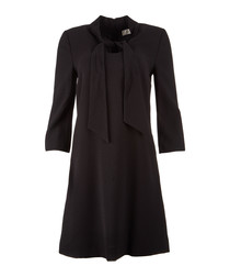 Ginny black pure wool crepe bow dress