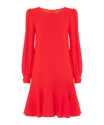 Gwyneth red pure wool crepe cuff dress