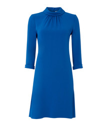 Ginette cobalt blue high neck tunic dress