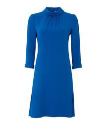 Ginette cobalt blue high neck tunic dress