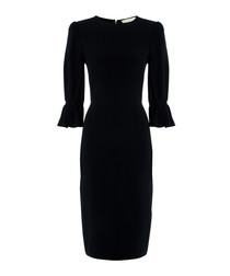Gaynor navy flare-sleeve pencil dress