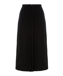 Garnet navy pure wool midi A-line skirt